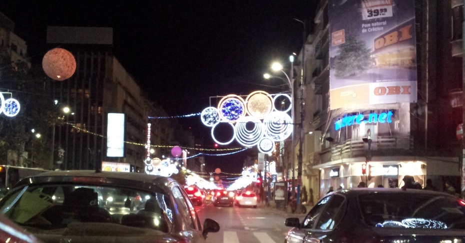 A Beautiful Christmas Decoration with Lights from Bucharest