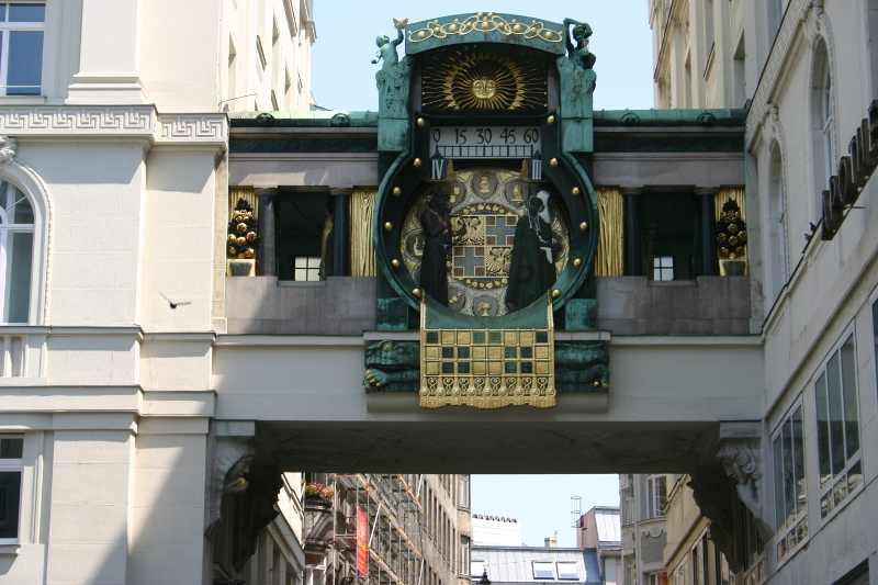 Ankeruhr (Anchor Clock). This is an amaing, old clock - with figures of famous people. And at noon you can see them all. And it's free! This is one of my favorite 6 things to see in Vienna. Read the article to discover the other five amazing places to visit in Vienna Austria. #Vienna #travel #viennatravel #viennaattractions