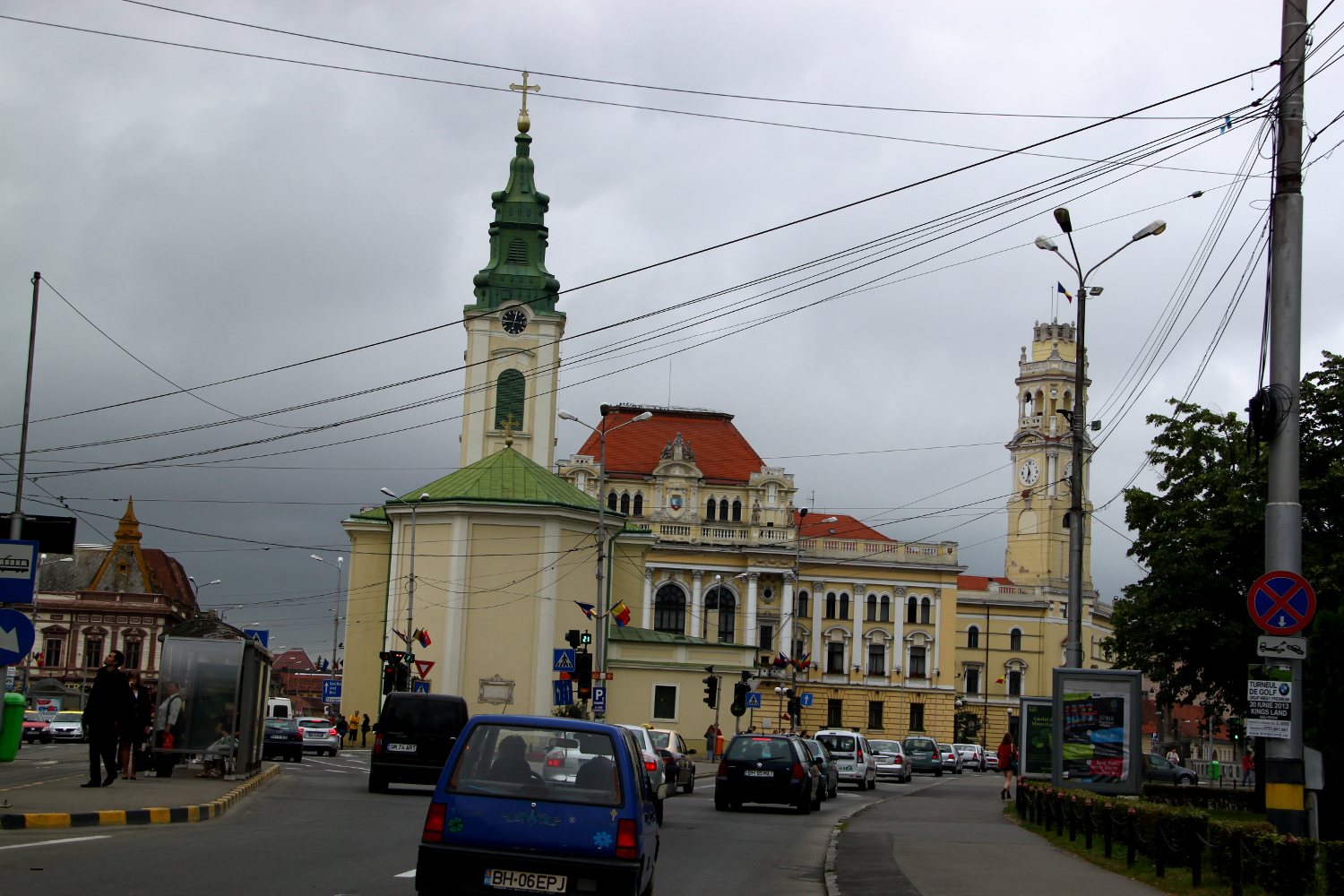 Church in Oradea and a sky with many cables
