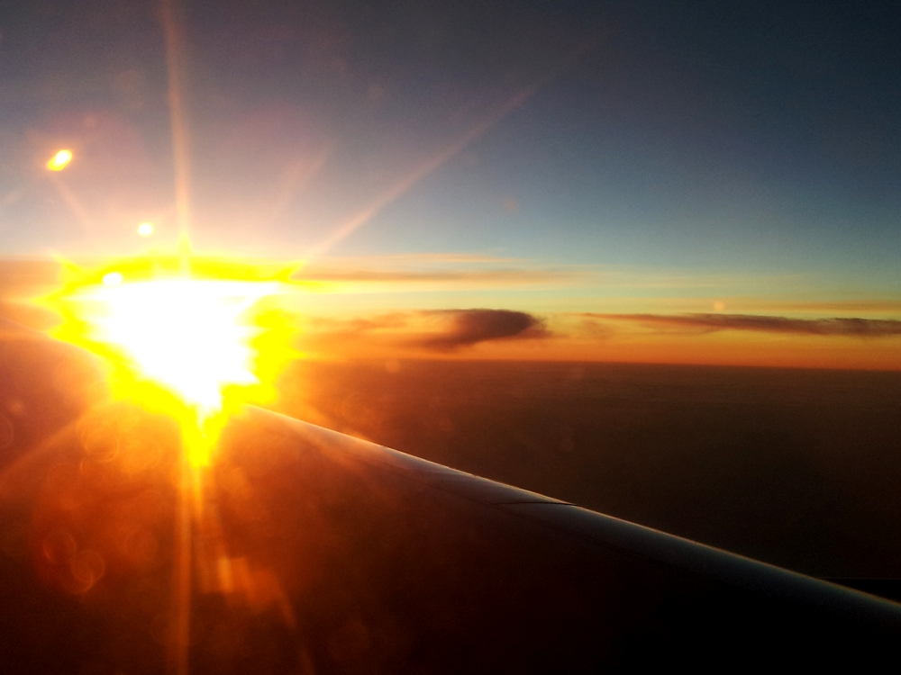 Sunrise seen from the airplane on the way to Johannesburg