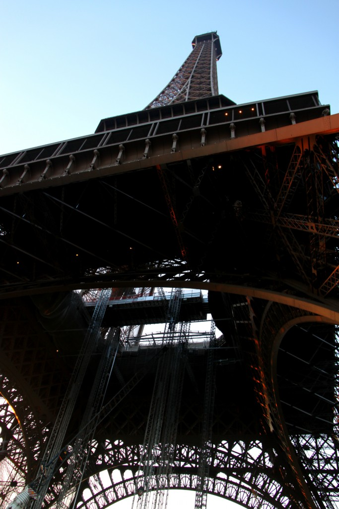 Paris - Eiffel tower - view from beneath the tower. Massive construction, right?