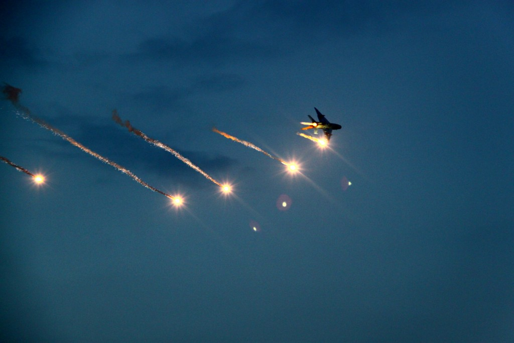 Mig 21 Lancer (supersonic aircraft) shooting defensive flares - BIAS 2015