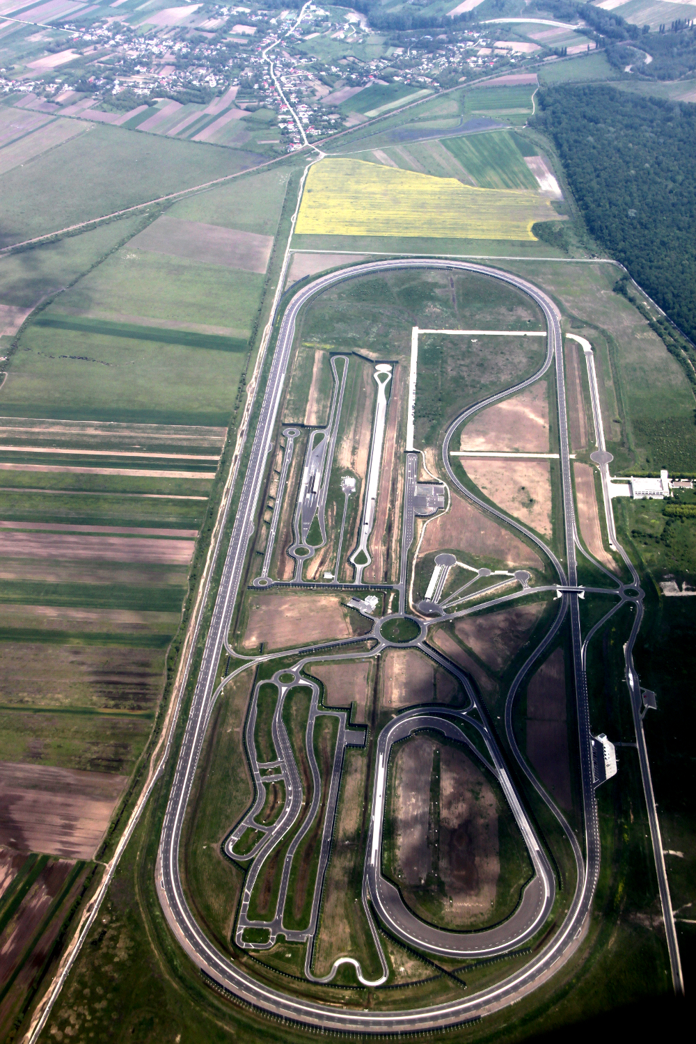 Dacia/Renault's test race track in Titu, Romania as seen from the plane