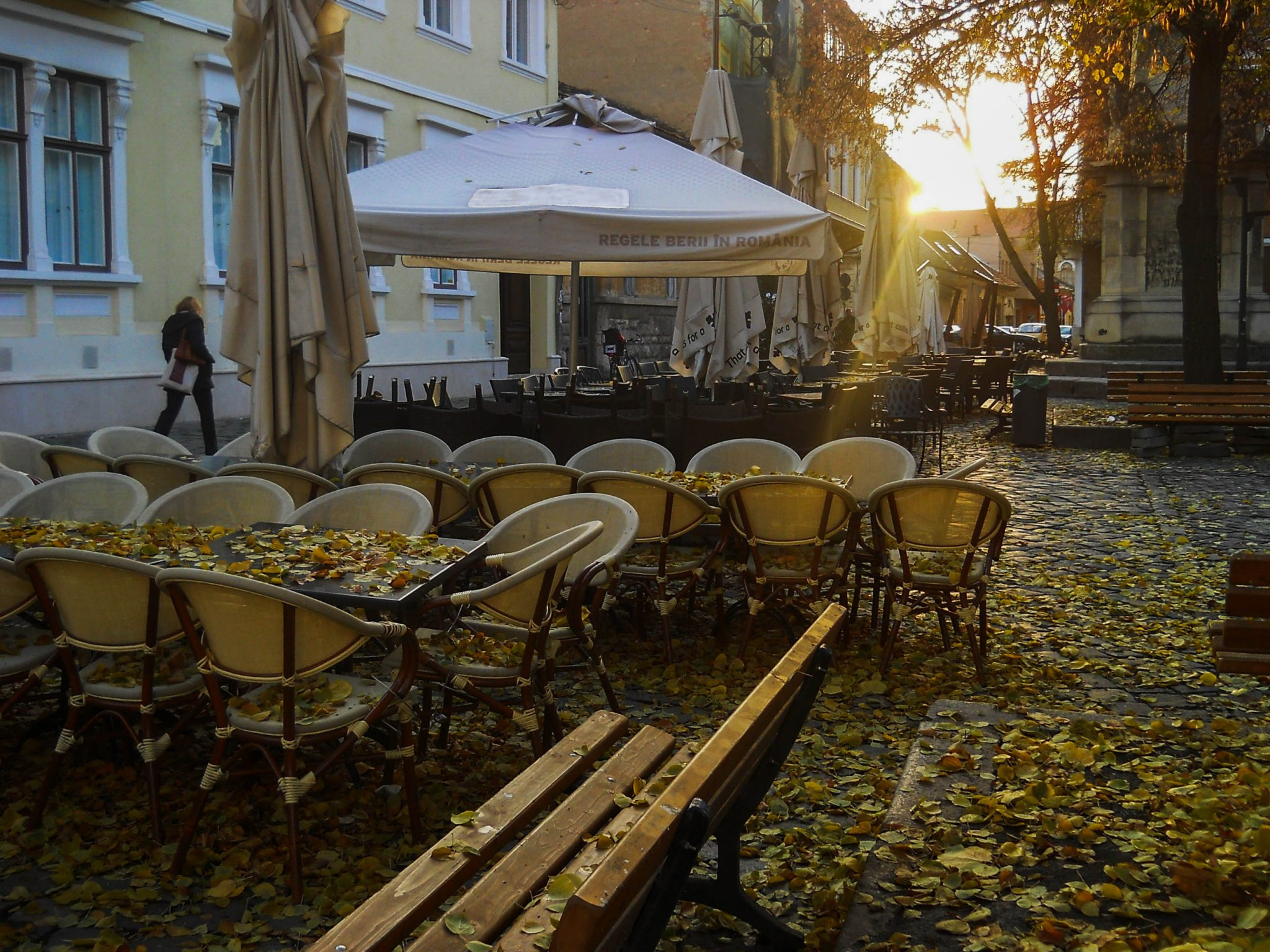 Cafe waiting to be opened during an autumn day - A complete travel guide to Cluj-Napoca