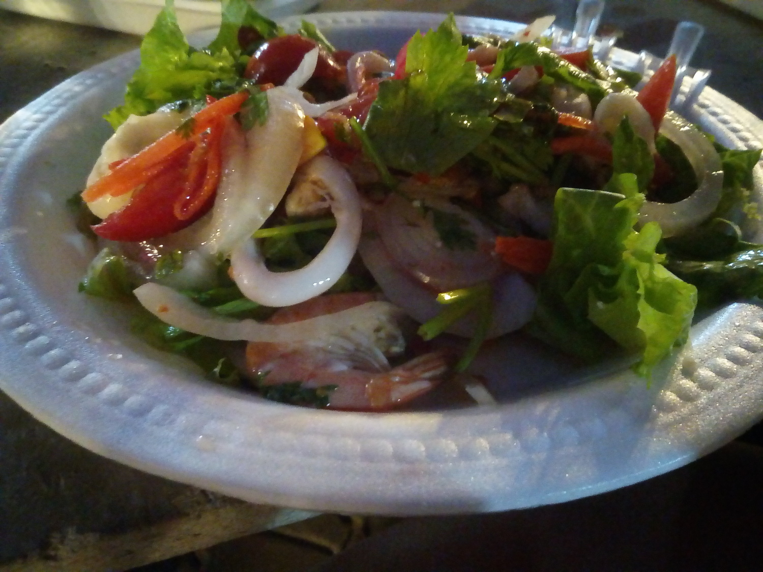 Seafood salad at Saturday Night Market - A Traveler's Guide to Chiang Mai #travel #Thailand