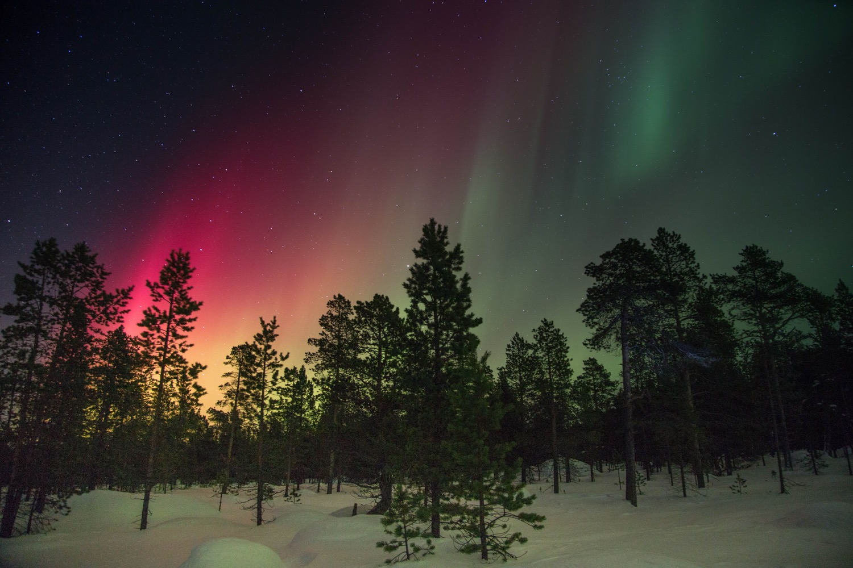 Snow landscape - Aurora Borealis - pexels