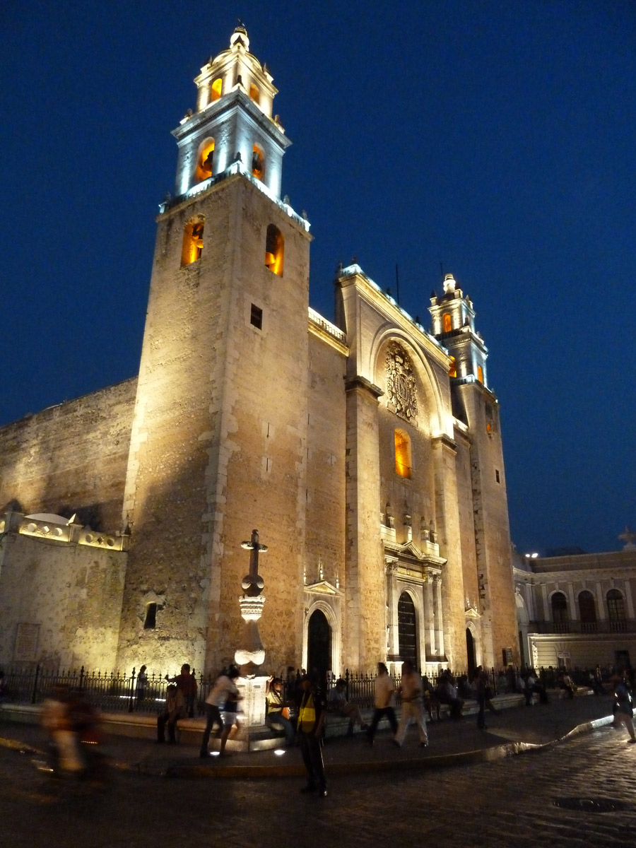 Merida Yucatan Cathedral in the evening - A complete guide to Merida, Mexico