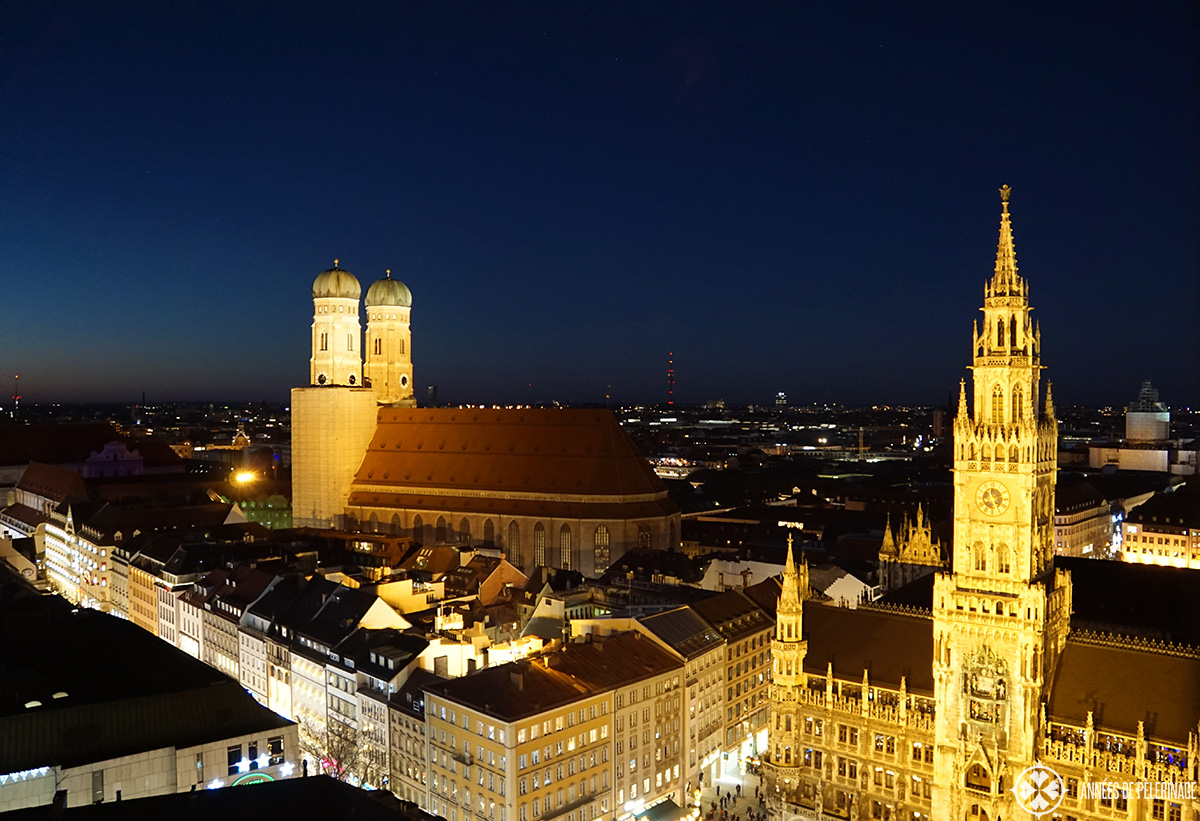 Frauenkirche - Munich - at night seen from Old Pete