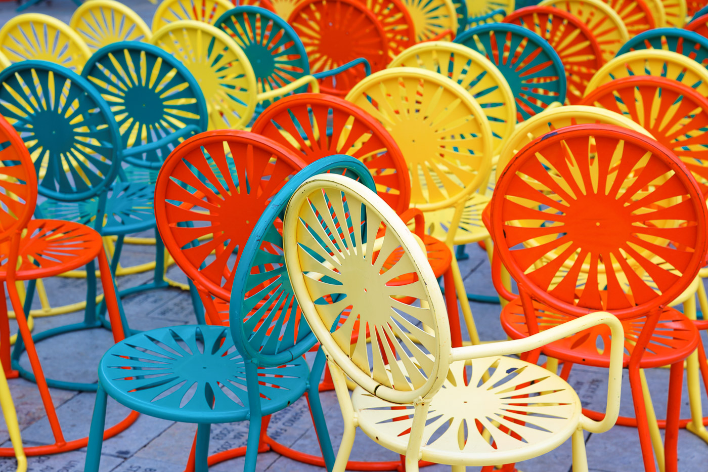 Colorful chairs at Memorial Union Terrace on the campus of the U