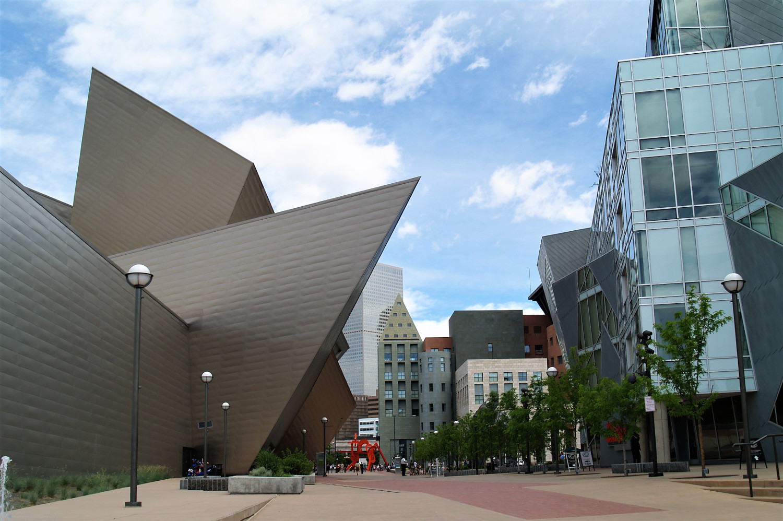 Denver Art Museum framing up the Denver Library - what to do in Denver