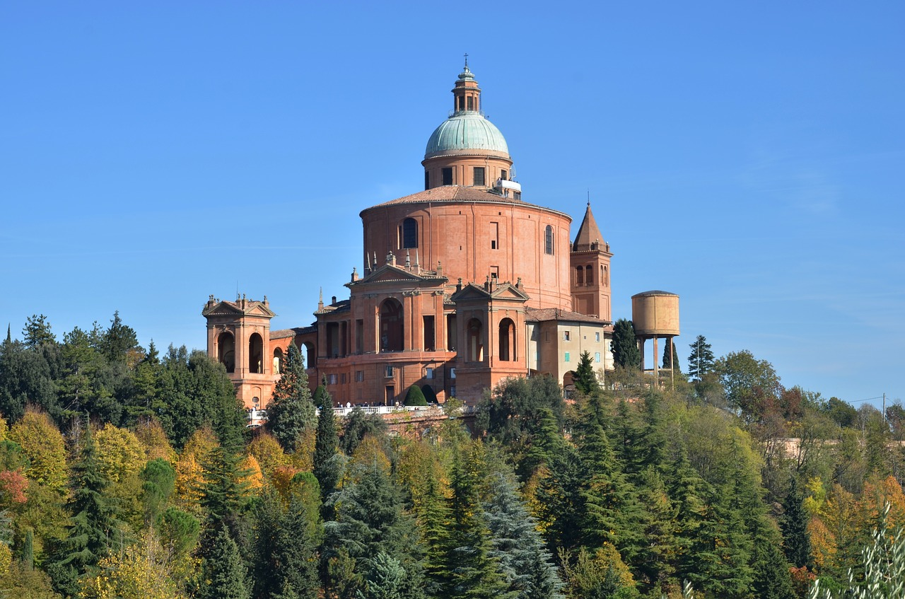 Santuario di Madonna di San Luca church at the summit (Saint Luke Church, Bologna). Read this insider's guide to Bologna Italy and discover more things to in Bologna, accommodation in Bologna, food in Bologna, and off the beaten path attractions in Bologna. #bologna #italy #bolognaguide #europe #bolognatraveling #bolognatravel