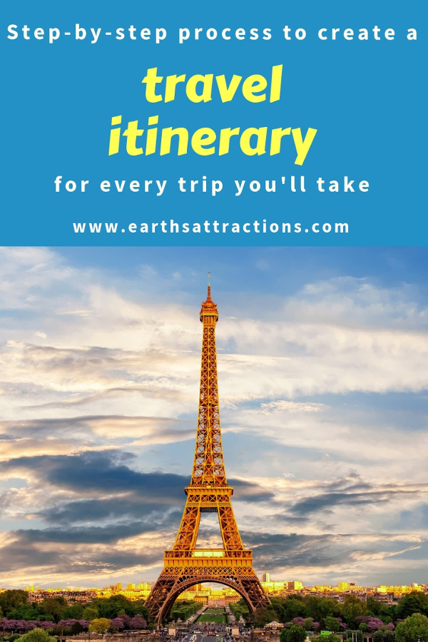 Are you looking for a vacation trip planner? Use this step-by-step process to create a travel itinerary that you'll use for all your trips! Travel itineraries examples are included, as well as a travel itinerary template. #travel #travelplanning #travelitinerary #itinerary #traveltips #vacation #holiday