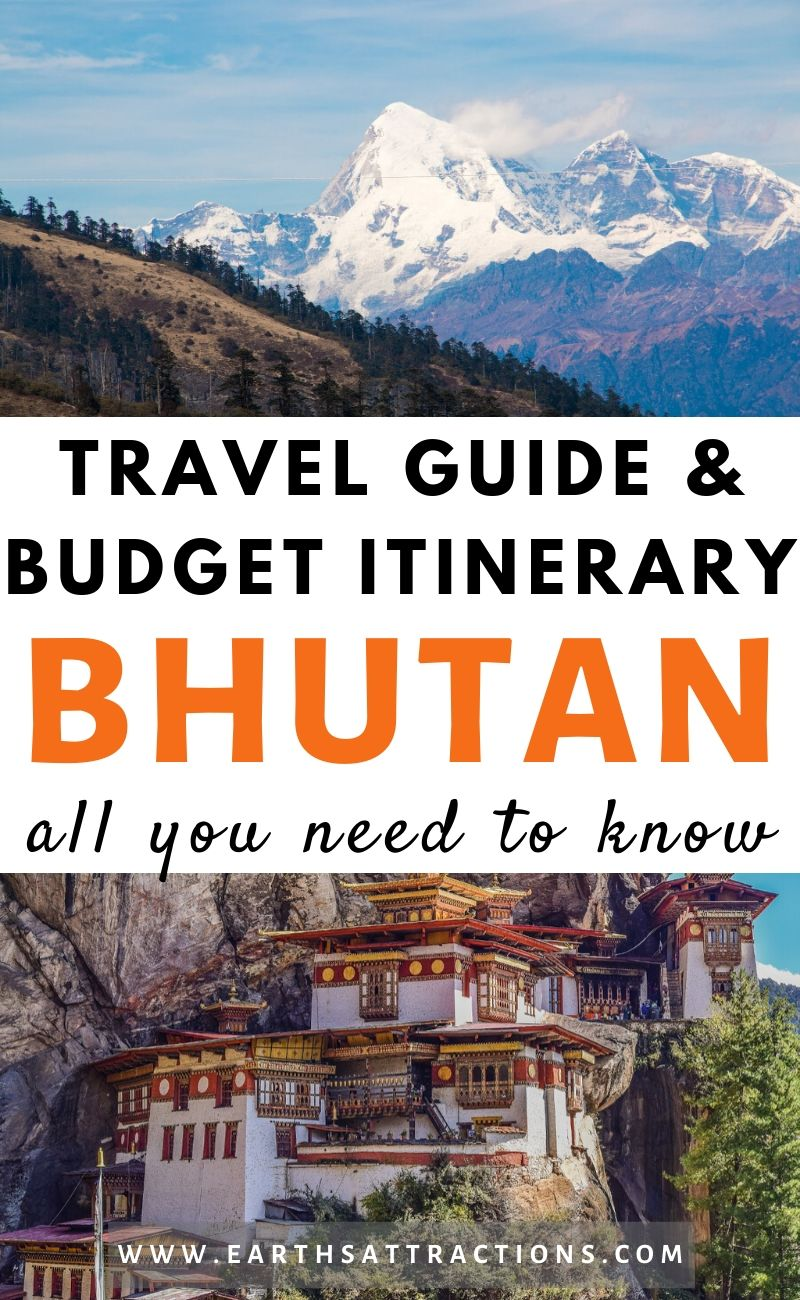 Bhutan travel blog: The best Bhutan travel guide and budget itinerary for Bhutan. Discover what to do in Buthan, the best souvenirs from Bhutan, where to stay in Bhutan, what to eat in Bhutan, and useful Bhutan tips. #bhutan #bhutanguide #asia #travel #traveldestinations #asiatravel #bhutanthingstodo #travelitinerary #earthsattractions
