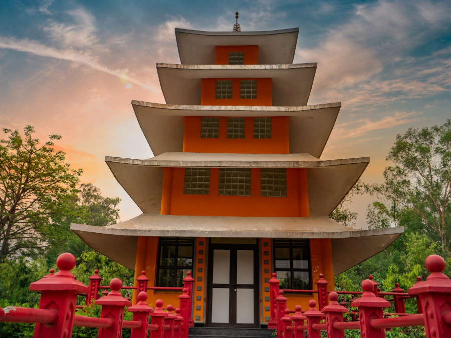 Japanese Garden - pagoda. The best places to visit in Chandigarh, India