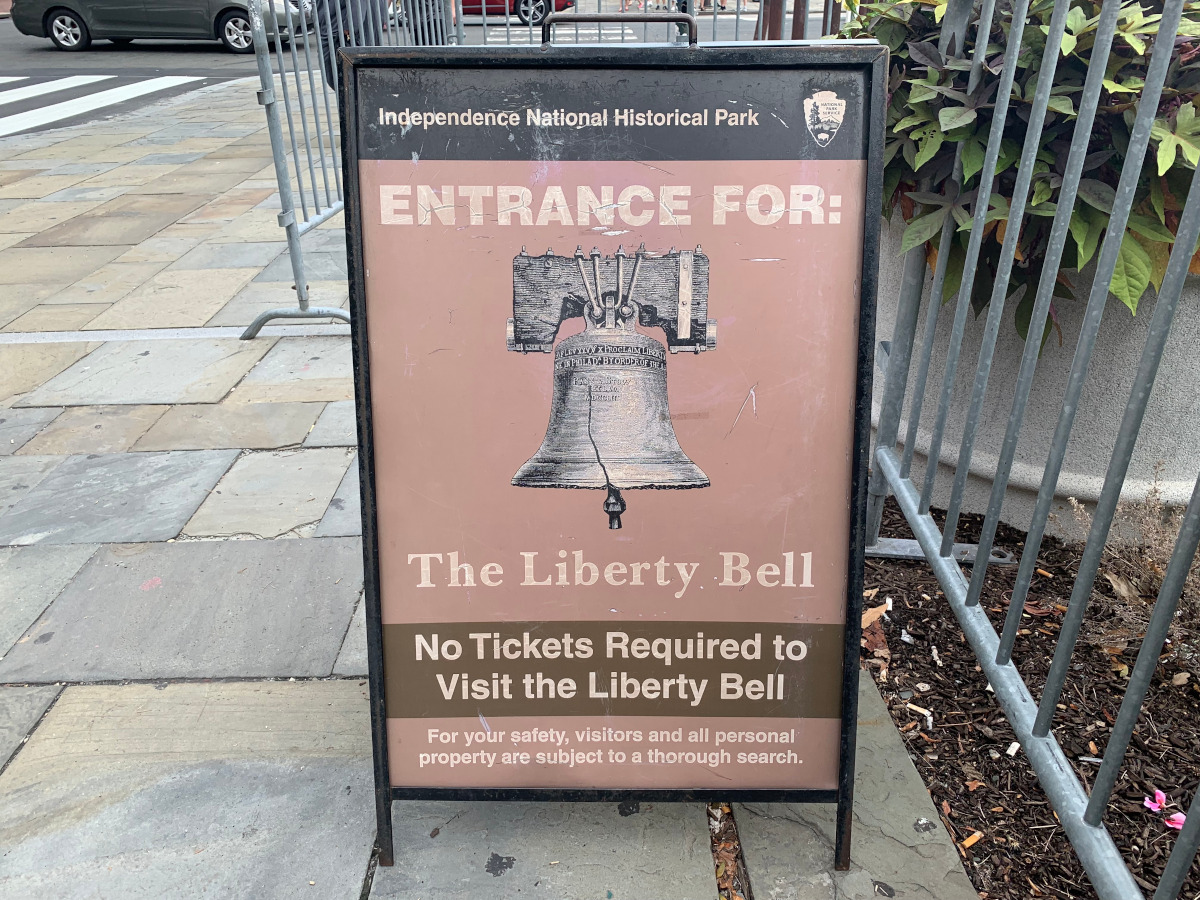 Liberty Bell - entrance sign. The best things to do in Philadelphia, USA