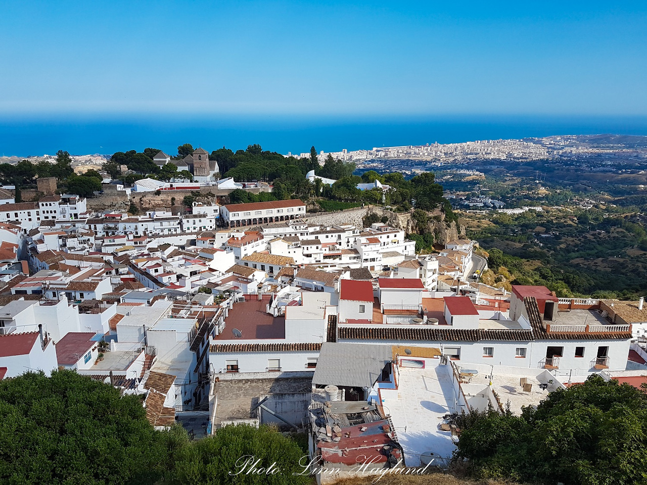 The view of Mijas Pueblo from the little church above the village. What to do in 3 days in Costa del Sol, Spain