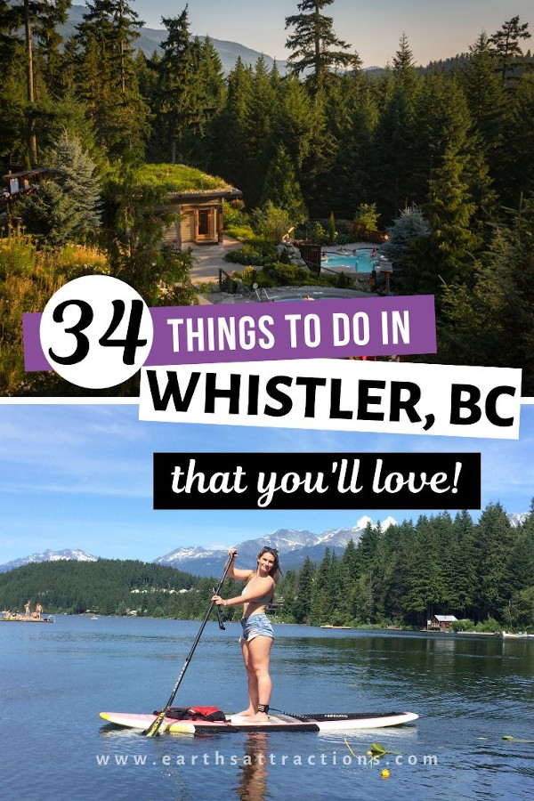 34 Fantastic things to do in Whistler, BC for all preferences and budgets and seasons! Discover from this guide to Whisler what to in Whistler in winter, what to do in Whistler in summer, Whistler hotels, Whistler restaurants, Whistler outdoor activities, and the best places to visit in Whistler. Everything you need to know before visiting Whistler is included in this Whistler travel guide. #whistler #bc #canada #whistlersummer #whistlerwinter #travel #travelguide #britishcolumbia