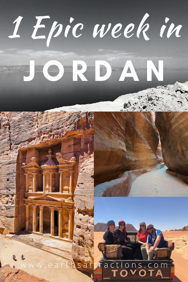 How to spend one week in Jordan seeing all the Jordan attractions such as Petra, Amman, Dead Sea, Wadi Rum, Madaba, Wadi Mujib, and more. Use this 7-day Jordan itinerary when planning your Jordan holiday. Discover the best things to do in Jordan now. #jordan #petra #jordanitinerary #deadsea #wadirum #amman #earthsattractions #traveltips #travelguides #itinerary