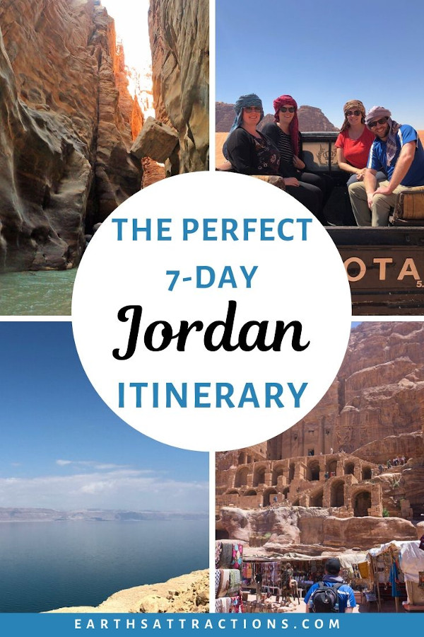 The perfect 7-day Jordan itinerary you'll want to steal. Discover the best places to visit in Jordan in one week. This itinerary for Jordan includes the Jordan Landmarks - Dead Sea, Petra, Amman, Wadi Rum, Wadi Mujib, Kings Highway and more! #jordan #petra #jordanitinerary #deadsea #wadirum #amman #earthsattractions #traveltips #travelguides #itinerary