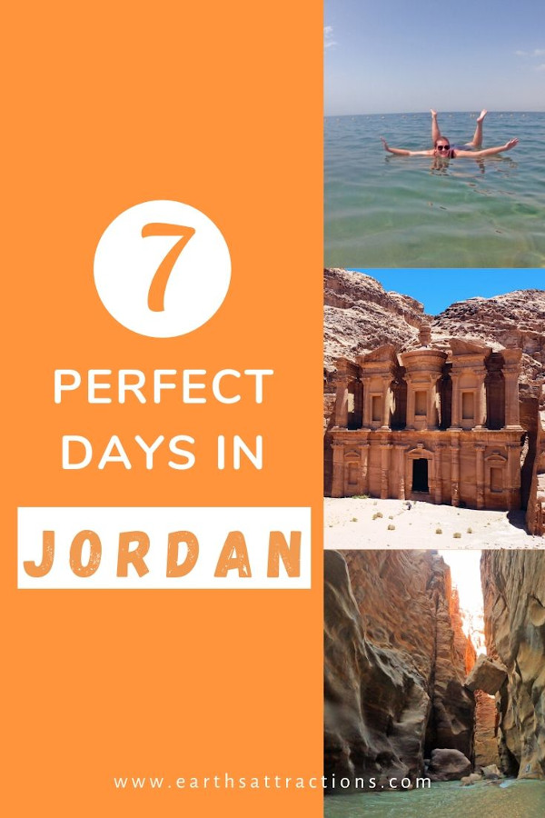 How to spend 7 days in Jordan. Discover the best places to visit in Jordan in a week. Use this Jordan itinerary when planning your trip to Jordan or to create your Jordan bucketlist. It includes the best Jordan sights: Petra, Dead Sea, Wadi Rum, Amman, and more. #jordan #petra #jordanitinerary #deadsea #wadirum #amman #earthsattractions #traveltips #travelguides #itinerary