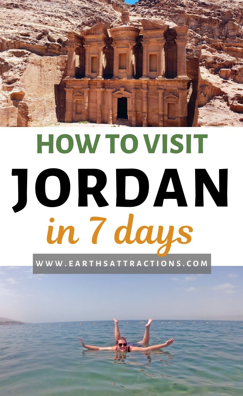 How to visit Jordan in 7 days - discover the best Jordan itinerary for 5, 6, or 7 days. Find out what to see in Jordan, including Petra, Dead Sea, Wadi Mujib, Amman, Wadi Rum, Kings Highway, and more! Plan the ultimate trip to Jordan with this one week Jordan itinerary. #jordan #petra #jordanitinerary #deadsea #wadirum #amman #earthsattractions #traveltips #travelguides #itinerary