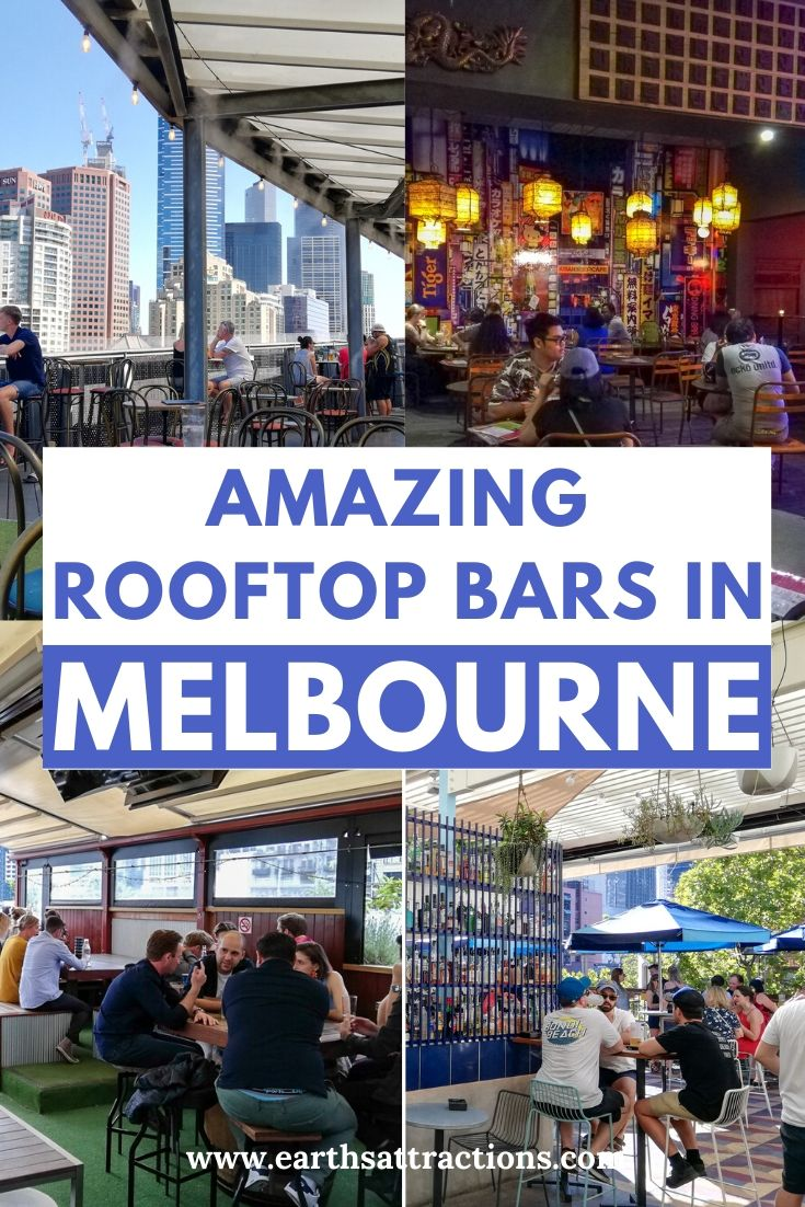 Amazing rooftop bars in Melbourne, Australia. Read this article and discover the top bars with a view of Melbourne as recommended by an insider. Find out where to go for drinks in Melbourne. #melbourne #melbournebars #bars #australia #oz #melbournetips #traveltips #travelguide #earthsattractions