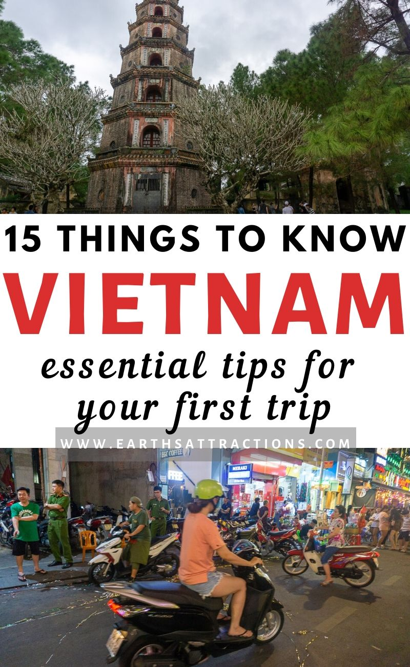 15 Things to know before visiting Vietnam. These are the essential tips for your first trip to Vietnam. Read them now to save time and money and avoid cultural shock on your Vietnam trip. #vietnam #asia #vietnamtips #traveltips #travel #earthsattractions