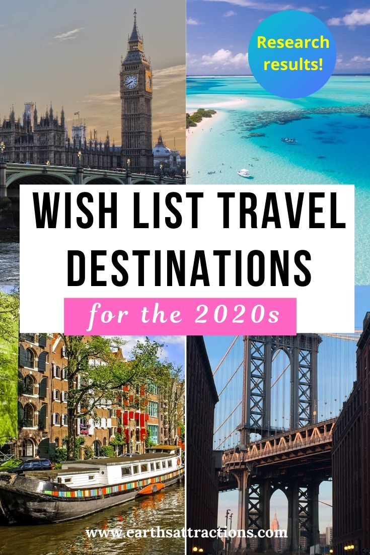 Discover the wish list travel destinations for the 2020s as revealed by a research. These are amazing travel destinations getaways ideas as the wishlist travel destinations are from all over the world and from people from various countries and continents. Create your travel bucket list for 2020 and beyond with this list of travel vacation spots. Discover also the most interesting travel trends for the next decade. #traveltrends #travelsurvey #travelresearch #dreamdestinations #bucketlist #traveldestinations #wishlistdestinations #whislist
