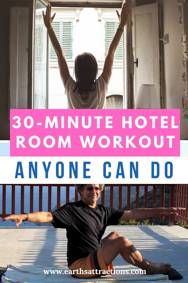 30 minute hotel workout - how to exercise when traveling. Discover how to exercise at the hotel #workout #stretching #exercise #hotelexercise #travel #travelworkout
