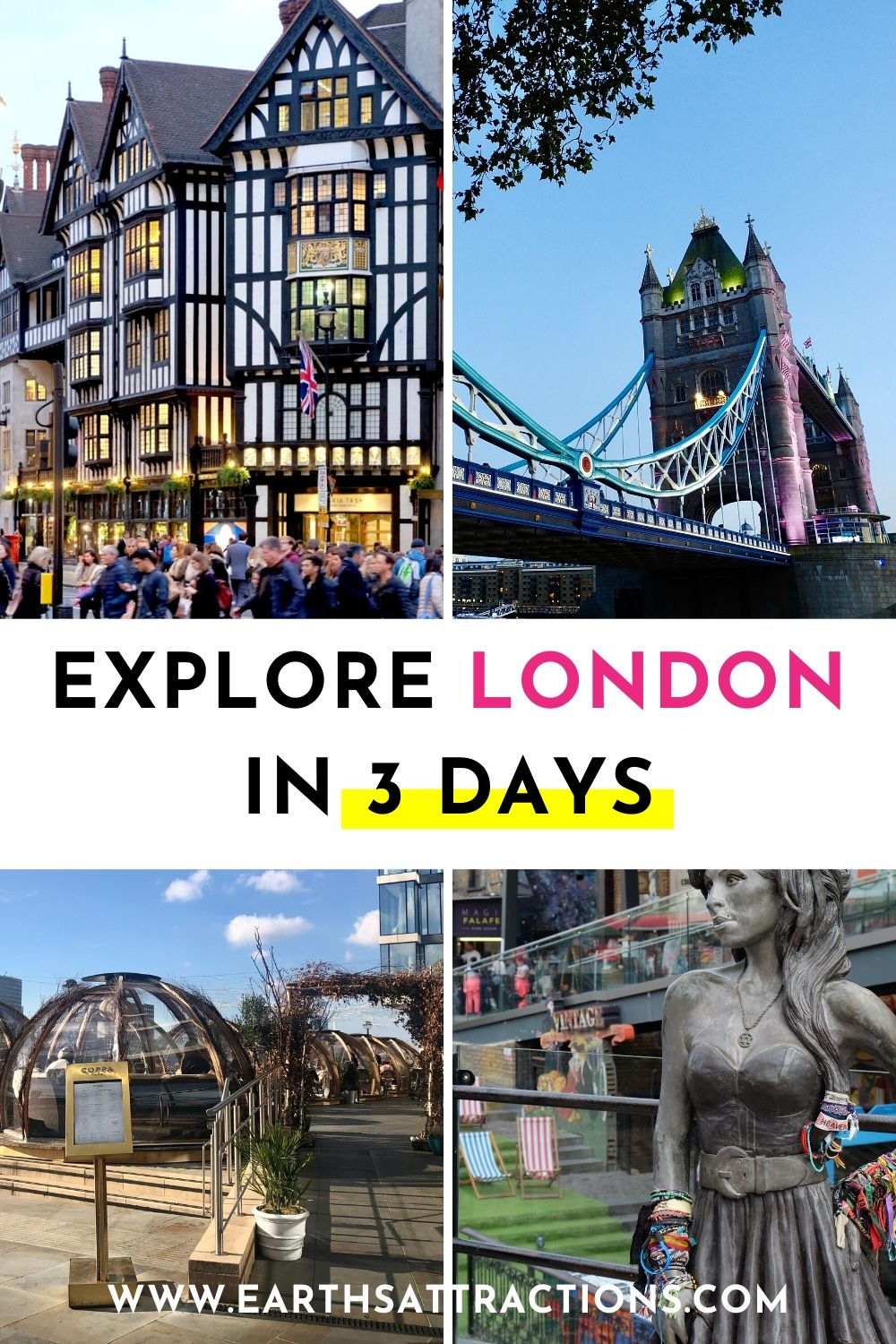 Eplore London in 3 days: what to do in London in 3 days. Use this 3-day walking London itinerary to make the most of your trip to London. Famous London attractions as well as secret London gems are included! #london #uk #greatbritain #europe #londonitinerary #londontrip #earthsattractions #traveleurope #3daylondon