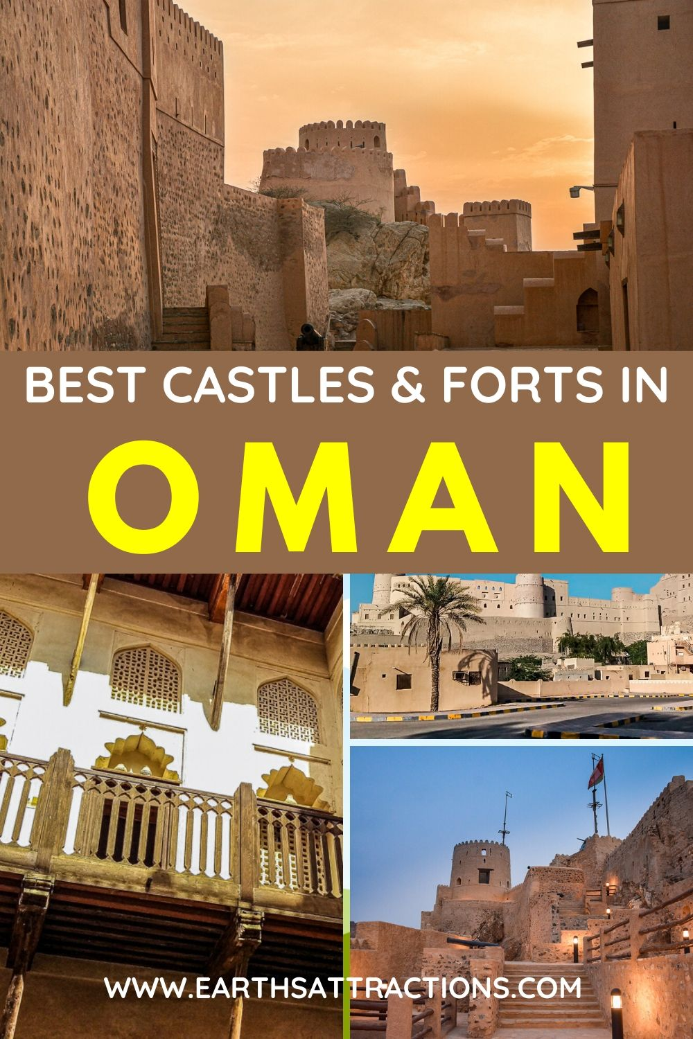 The best Castles and Forts in Oman. Discover the best places to visit in Oman shared by a local. These are the most important forts in Oman and the best castles in Oman to see on your Oman trip. Read the article now and discover the best things to do in Oman from Bahla Fort to Jabreen Castle, Nizwa Fort, Mutrah Fort, and more. #oman #asiatravel #omanforts #omancastles #earthsattractions #traveldestinations
