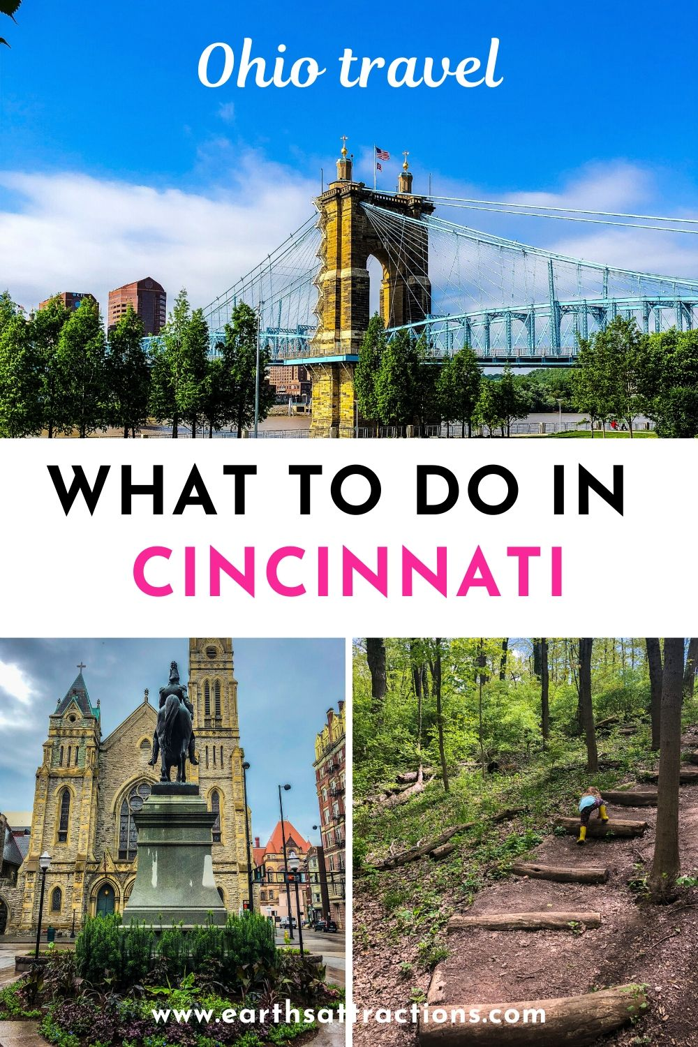 What to do in Cincinnati. Planning a trip to Cincinnati? Then read this Cincinnati travel guide before you get there. Discover the best things to do in Cincinnati and create your Cincinnati bucket list and your Cincinnati itinerary. Read the article now - and save this pin for later. #cincinnati #ohio #cincinnatiguide #cincinnatithingstodo #usa #usatravel #ohiotravel #travelguides #earthsattractions #thingstodo #america