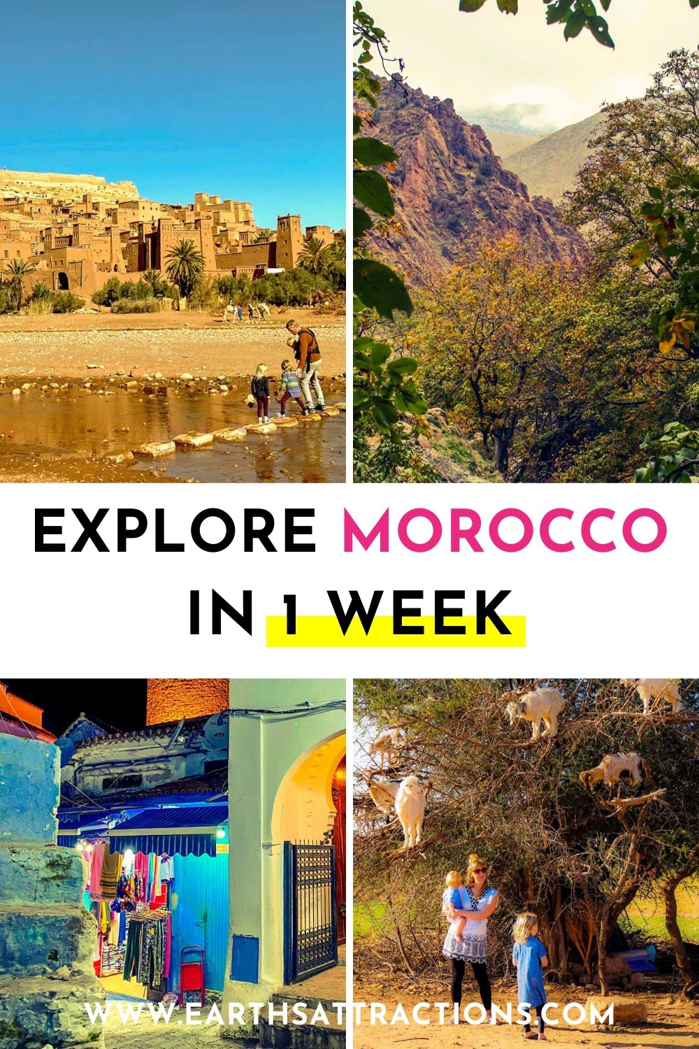 Explore Morocco in one week using this insider's 7-day Morocco itinerary. Discover the best places to visit in Morocco - Marrakech, Fes, Essaouira, High Atlas Mountains and many more! Create your Morocco bucket list now! Save this pin for later! #morocco #moroccoitinerary #itinerary #travelitinerary #africa #traveldestinations #earthsattractions