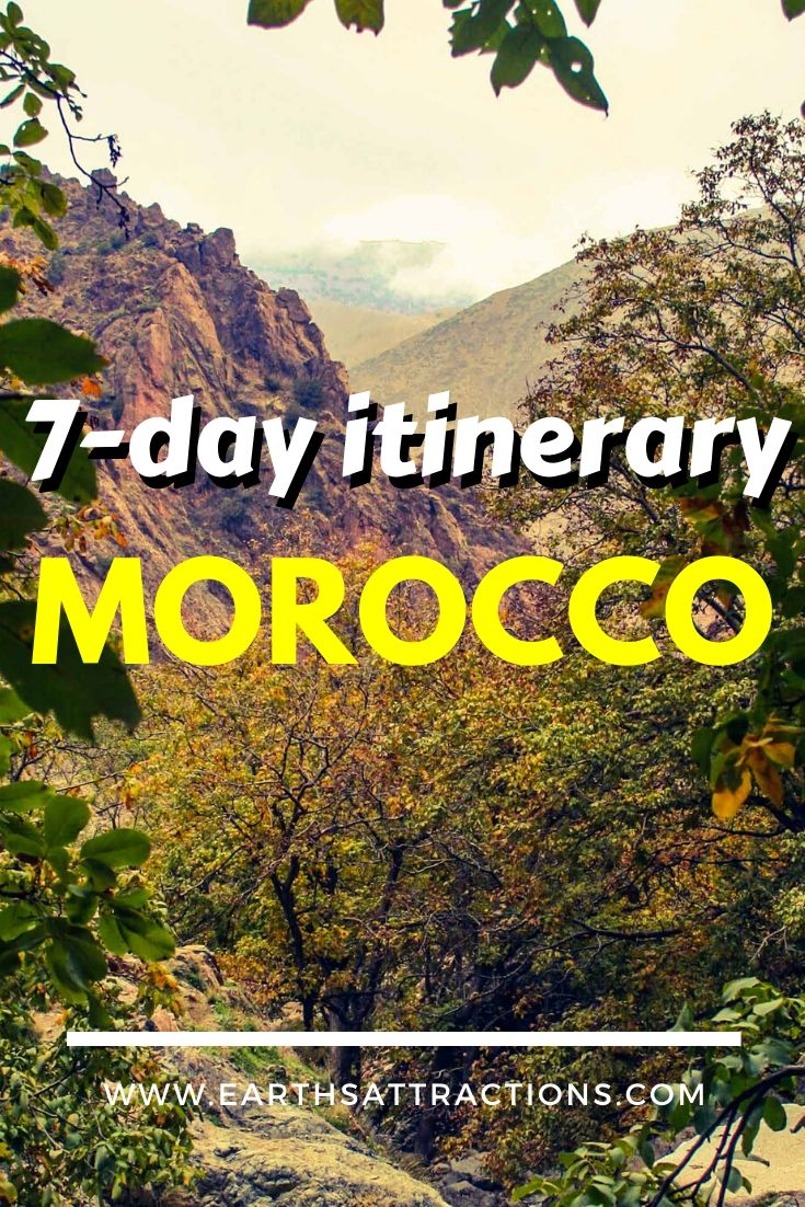 The perfect 7-day itinerary for Morocco. Discover how to spend one week in Morocco from this Morocco guide. It includes the top tourist destinations in Morocco, as well as some off the beaten path places to visit in Morocco. Read the article now and start planning your Morocco vacation! #morocco #moroccoitinerary #itinerary #travelitinerary #africa #traveldestinations #earthsattractions