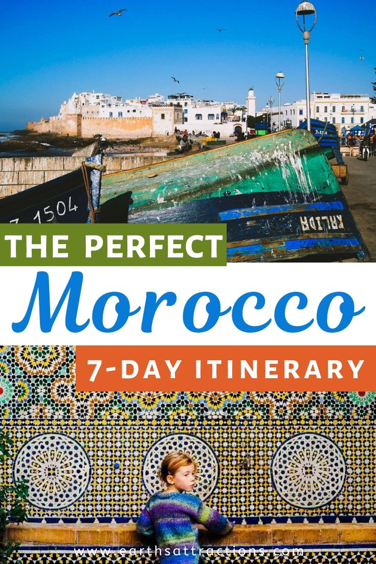 The perfect Morocco 7 day itinerary. Discover how to spend one week in Morocco while visiting the famous Marrakesh, Essaouira, Chefchaoun, Fes, beaches, High Atlas Mountains and more! Plan your Morocco trip now! #morocco #moroccoitinerary #itinerary #travelitinerary #africa #traveldestinations #earthsattractions