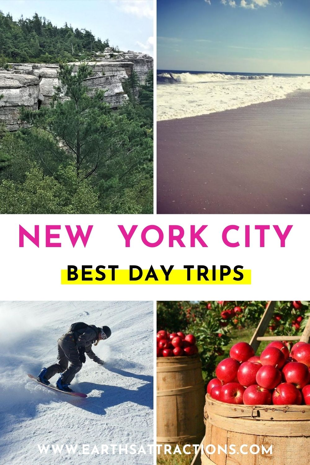 NYC day trips. Discover the best NYC getaways to try! These day trips from New York City will allow you to make the most of your trip to NYC and to discover great outdoor attractions and have fun! #nyc #nycdaytrips #usa #usatravel #earthsattractions #northamerica #nyctrips #nycgetaways