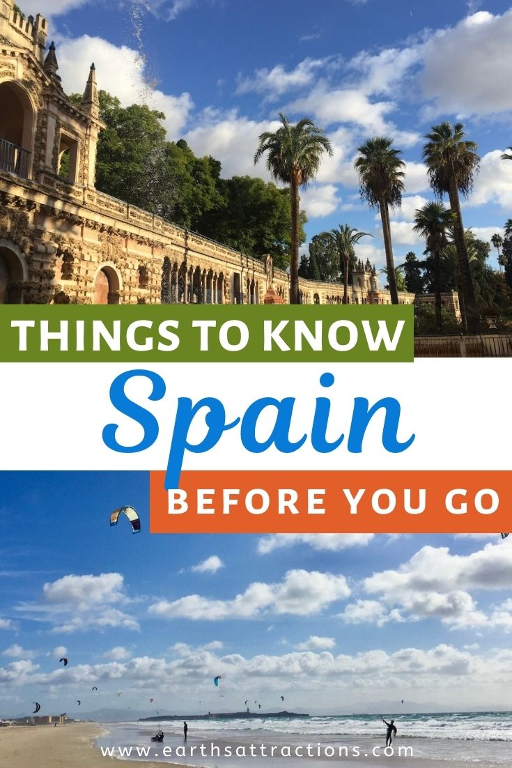 Things to know before you go to Spain. This Spain guide includes important details about the Spanish food, best time to visit Spain, Spanish life, top destinations in Spain, including Andalucia, Seville, Costa Blanca, Cordoba, Cadiz and more. Useful tips for visiting Spain. Save this pin for later and read the article now! #spain #spaintips #spaintravel #europetravel #earthsattractions #spainfacts #spanishdishes #spanishfood #food #tapas #paella #traveldestinations #visitspain