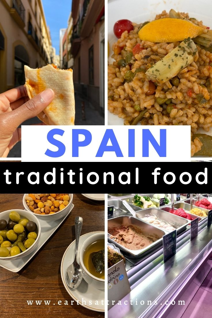 Spain traditional food: the top 16 Spanish dishes to try! This article tells you everything you need to know about the Spanish food. Discover the best Spanish foods to try on your Spanish trip! #spain #spanishfood #spainfood #spanishfoods #food #traveleurope #traveldestination #travelfood #foodieguide #spainfoodieguide #eatinspain #earthsattractions