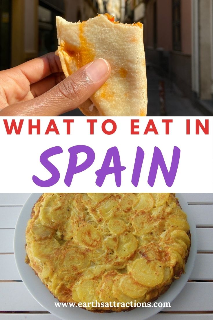 What to eat in Spain: the best 16 traditional Spanish foods to try when you visit Spain. Read this comprehensive Spain food guide to discover the best dishes in Spain: from tapas, paella, and empanadas to turron, churros con chocolate, and beyond! #spain #spanishfood #spainfood #spanishfoods #food #traveleurope #traveldestination #travelfood #foodieguide #spainfoodieguide #eatinspain #earthsattractions