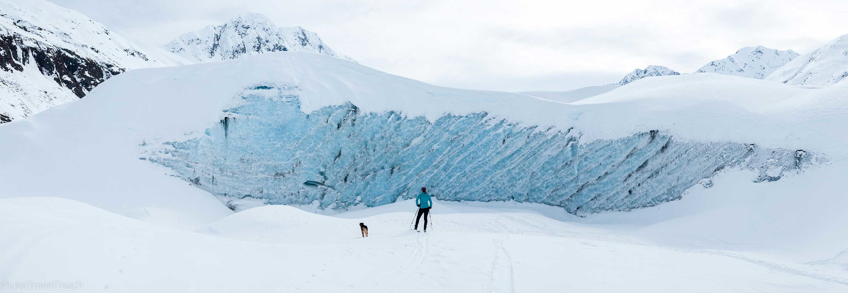 Elizabeth and Theo skiing to Skookum Glacier - panorama - Unforgettable Alaskan Adventures