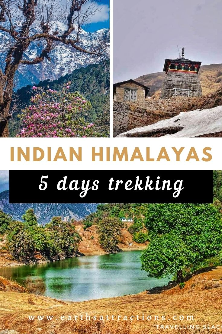 The perfect 5-day Indian Himalayas trekking itinerary. Use this complete Indian Himalayas itinerary by a local and discover the best places to visit on your Indian Himalayas vacation. From Chopta to Rishikesh, Delhi, Tungnath, Deoria Tal, and beyond! #india #indianhimalayas #himalaya #himalayas #trekking #india #asiatravel #indiatravel #earthsattractions #traveldestinations #adventure