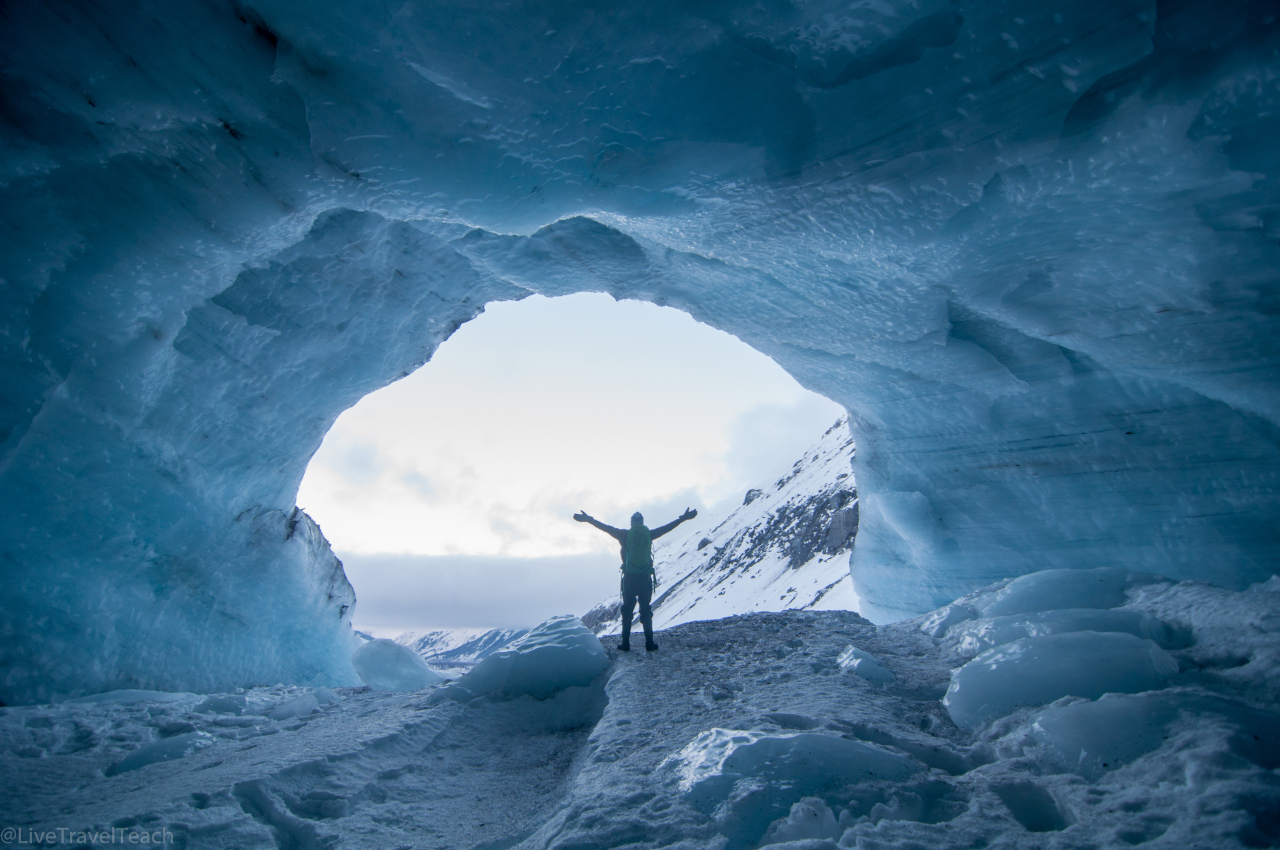 Unforgettable Alaskan Adventures - Mike entering Byron Glacier Cave