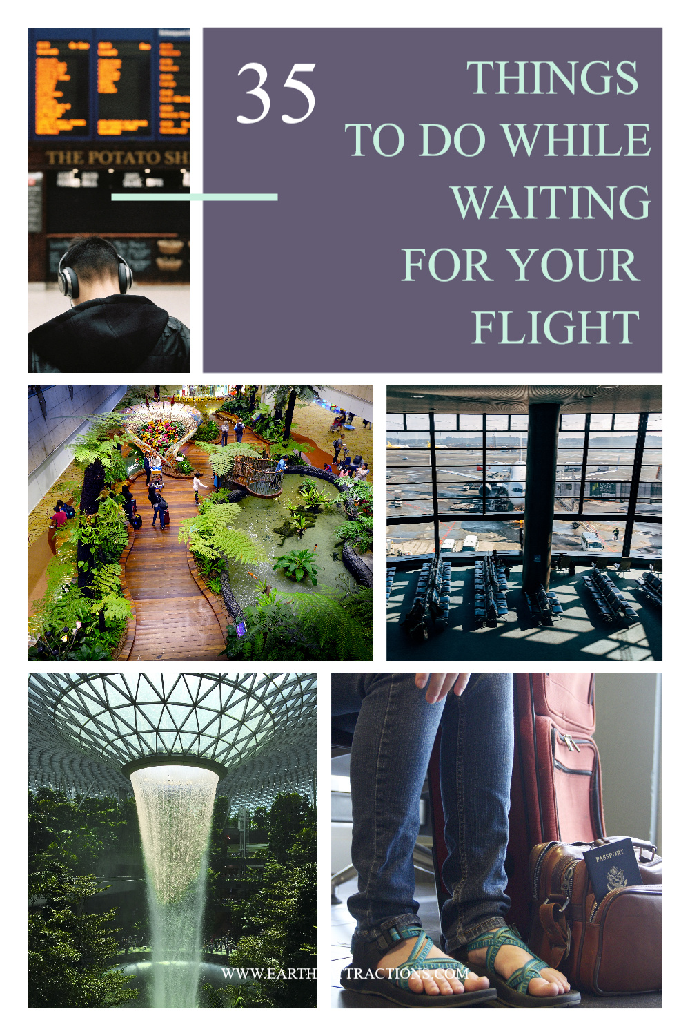 35 things to while waiting for your flight. These are truly the best things to do at the airport. #travel #airport #airportactivities #airportthingstodo #traveltips #earthsattractions