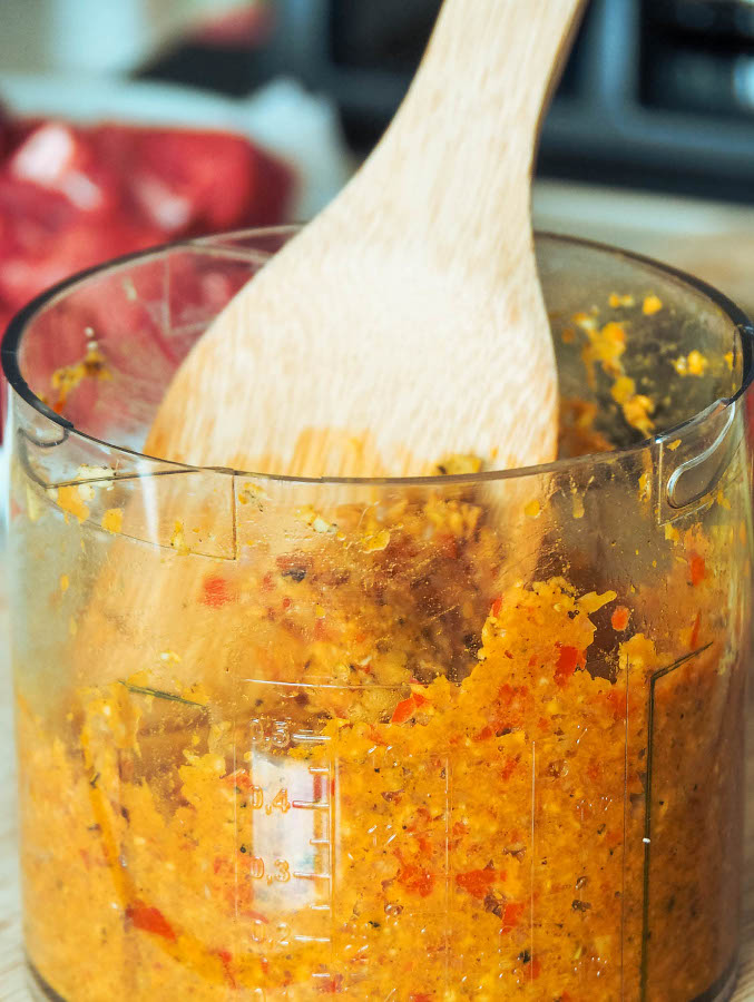 How to make Beef Rendang Recipe. Step-by-step rendang recipe. First Add all spice paste ingredients to food processor