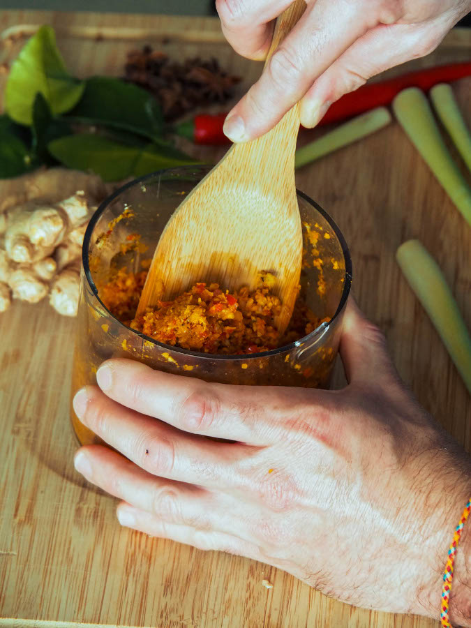How to make Indonesian Rendang Recipe. Step-by-step rendang recipe. First Add all spice paste ingredients to food processor