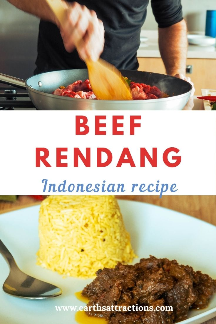 Beef Rendang Indonesian recipe. What is beef rendang and how to make beef rendang. Discover the rendang ingredients and a step-by-step rendang recipe in this article. Read it now and save this pin for later! #beefrendang #indonesia #recipe #beefrendangrecipe #asiatravel #food #asianfood #earthsattractions #dish #populardish #meatdish