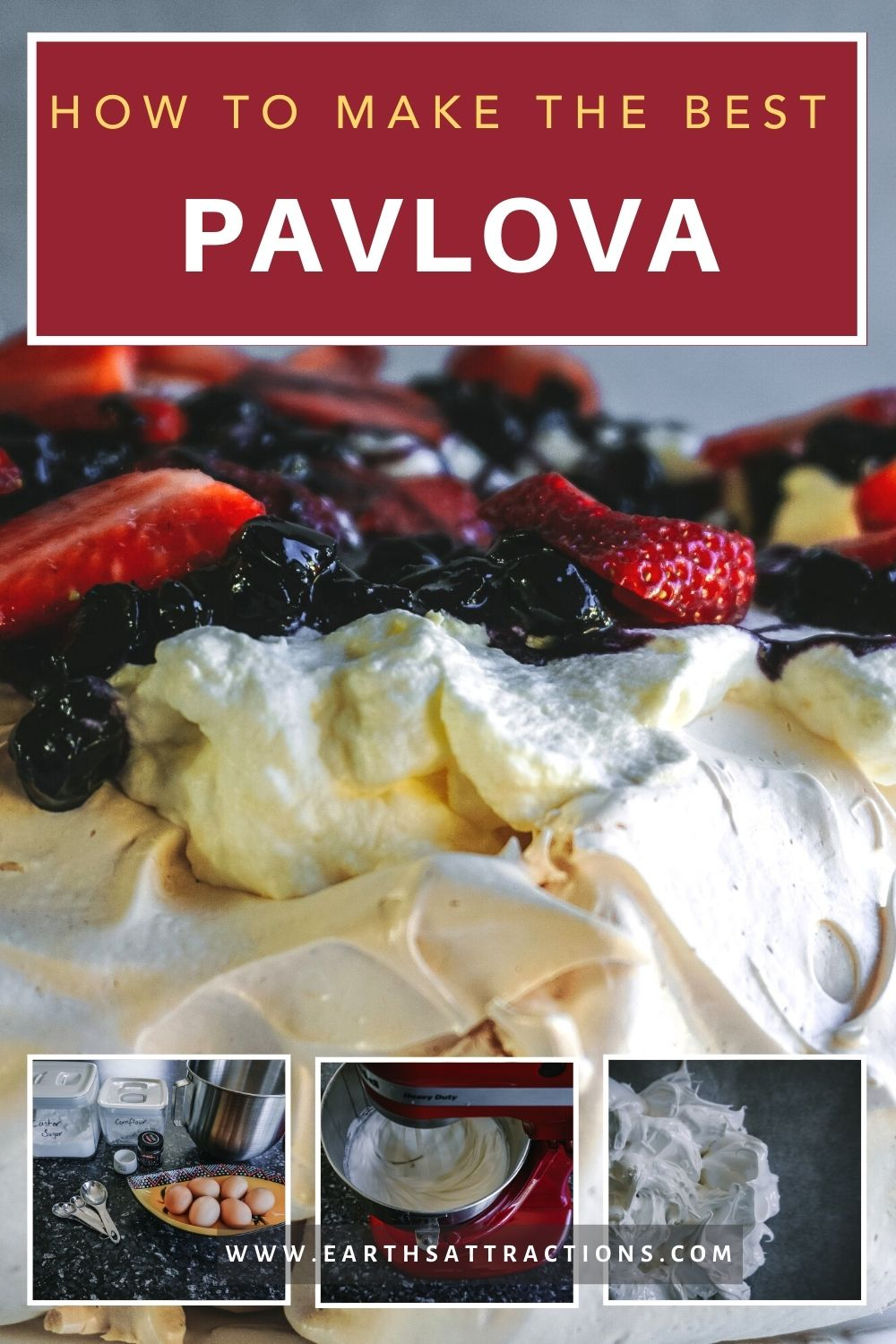 Authentic Pavlova recipe: how to make Pavlova cake. Discover the best New Zealand Pavlova recipe; easy to make and just a few ingredients needed! Discover one of the best Australian desserts - and a great Christmas food to try! #pavlova #newzealand #food #pavlovadish #pavlovacake #dessert #nz #earthsattractions #christmas