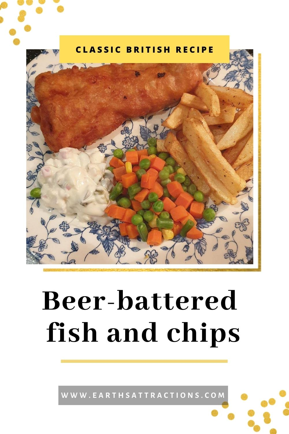 Classic British beer-battered fish and chips recipe. Discover the best fish'n'chips recipe that you can make at home. This traditional fish and chips recipe is easy to make and tasty! Save this pin and read the article now! #fishandchips ##fishandchipsrecipe #recipe #recipes #britishrecipe #britishfood #britishdish #famousdishes #fishandchipsbeer #earthsattractions #internationaldishes #flavour