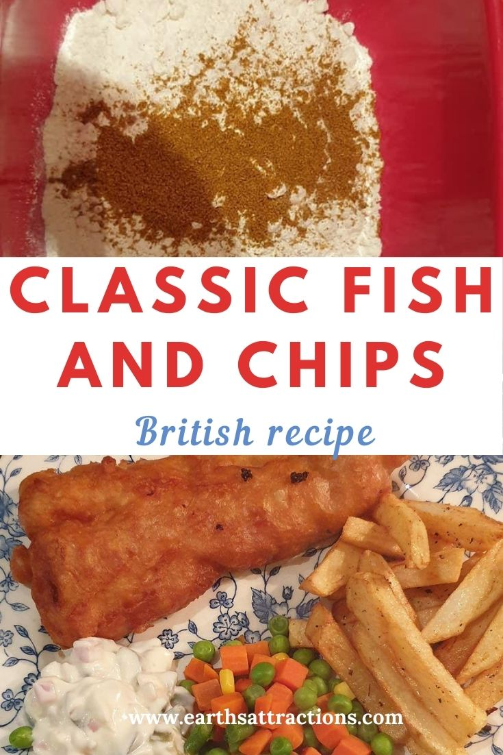 Classic fish and chips recipe! Discover how to make fish and chips from this article. Complete fish n chips recipe! British food. Save this pin and read the article now! #fishandchips ##fishandchipsrecipe #recipe #recipes #britishrecipe #britishfood #britishdish #famousdishes #fishandchipsbeer #earthsattractions #internationaldishes #flavour